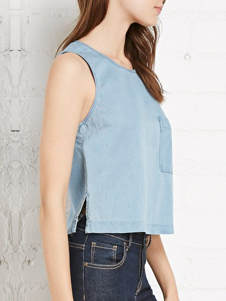 Light Blue Sleeveless Pockets Solid H-line Tank Top