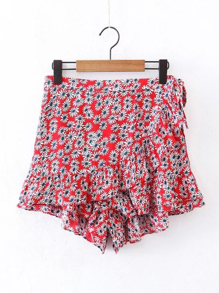 Red Beach Printed Floral Short