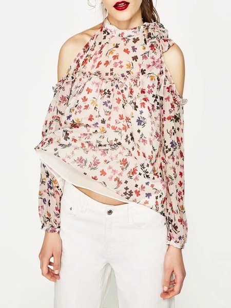 Long Sleeve Floral Girly Printed Cold Shoulder Top