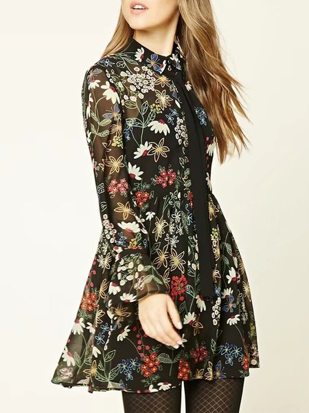 Black Floral H-line Printed Casual Dress