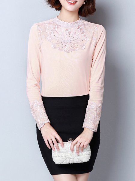 Fleece-lined Embellished Elegant Long Sleeve Stand Collar Blouse
