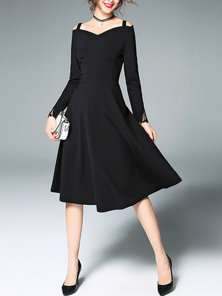 Black Solid Long Sleeve Party Dress