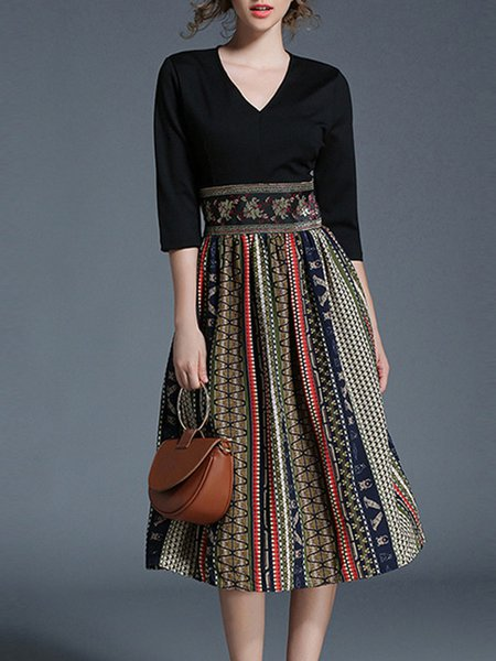 Women Print Dress V neck A-line Daily 3/4 Sleeve Paneled Dress