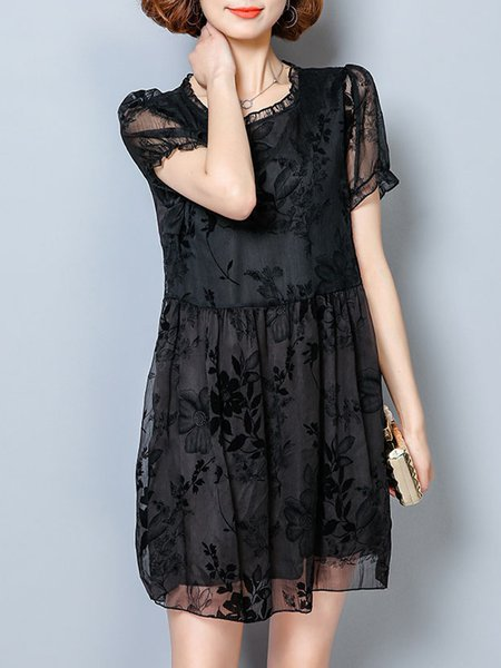 Black Stand Collar Short Sleeve Floral Plus Size Casual Dress