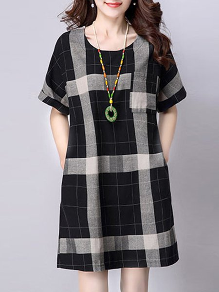 Black Women Casual Dress Crew Neck A-line Daily Casual Checkered/Plaid Dress