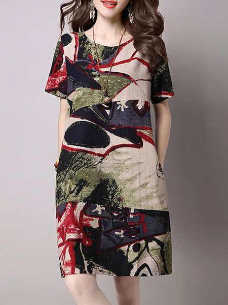 Green Women Print Dress Crew Neck A-line Daily Casual Abstract Dress
