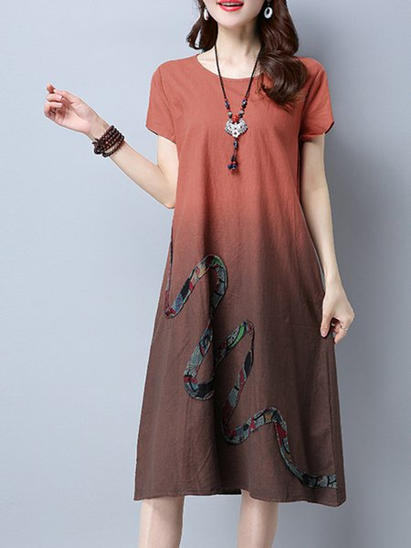 A-line Short Sleeve Dip-Dyed Crew Neck Casual Dress