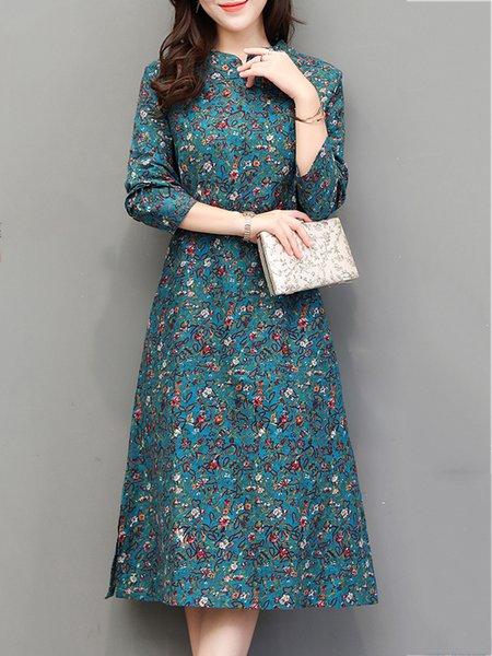 Blue Slit Stand Collar Long Sleeve Casual Dress