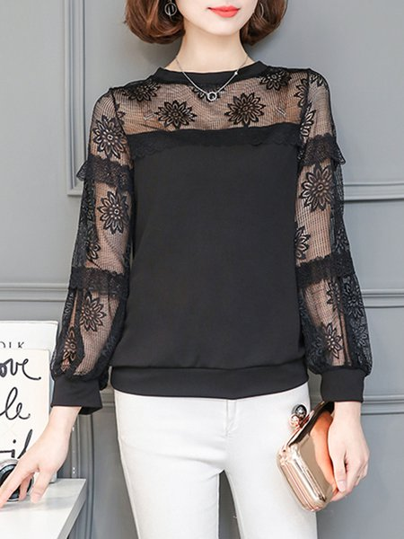 Casual Crew Neck Guipure Lace Blouse