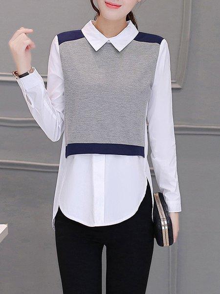 White Casual Shirt Collar Blouse