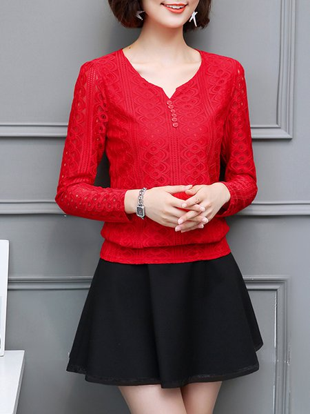 Red Buttoned V Neck Long Sleeve Plus Size Blouse