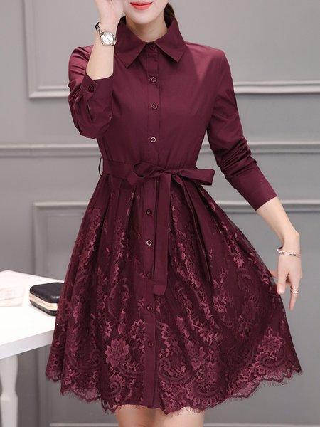 Elegant Guipure Lace A-line Dress with Belt