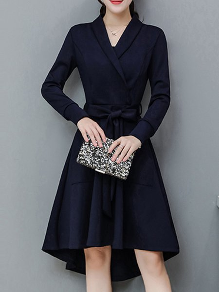 High Low Surplice Neck Solid Elegant Dress with Belt