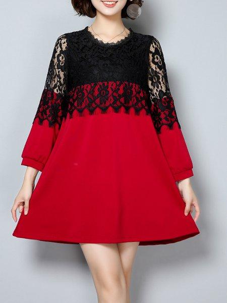 Red Women Elegant Dress Crew Neck A-line Daily Cotton Paneled Dress