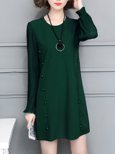 Long Sleeve Casual H-line Plain Paneled  Dress