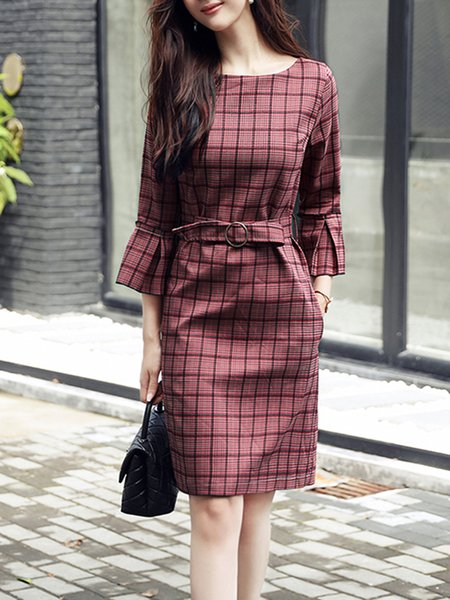 A-line Bell Sleeve Checkered/Plaid Dress with Belt