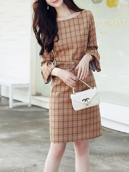 Pockets Bell Sleeve Elegant A-line Dress with Belt
