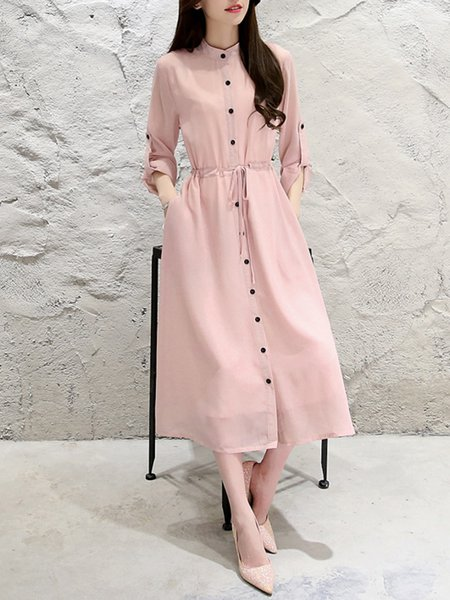 Pink Stand Collar Simple Solid Buttoned Casual Dress