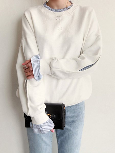White Plain Ruffled Long Sleeve Sweatshirt