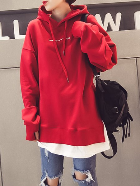 Red Casual Paneled Jersey Hoodie