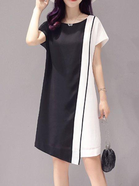Crew Neck Color-block Short Sleeve A-line Casual Dress
