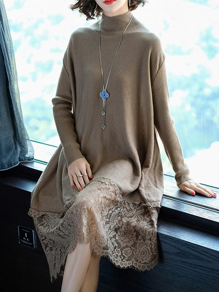 Lace Paneled Casual Long Sleeve Knitted Dress