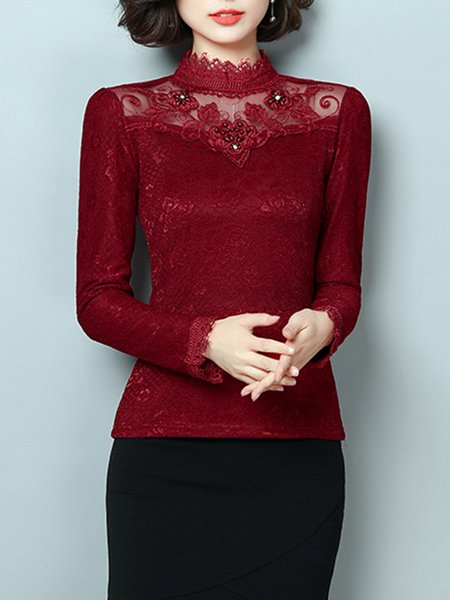 Lace Long Sleeve Beaded Casual  Blouse