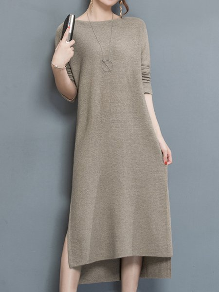 Knitted Crew Neck Casual High Low Long Sleeve Dress