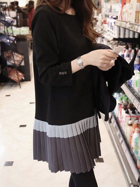Casual Pleated Long Sleeve Crew Neck  Dress
