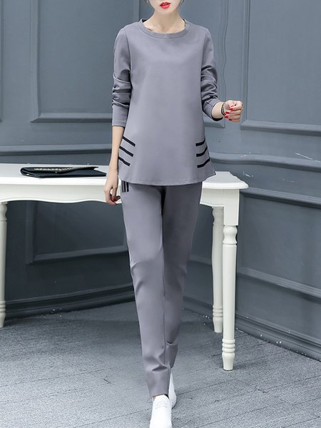 Long Sleeve Pockets Casual Two Piece Sets