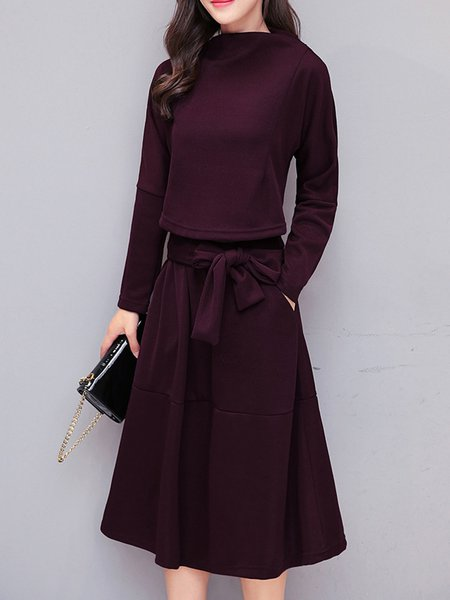 Burgundy Casual A-line Solid Knitted  Dress