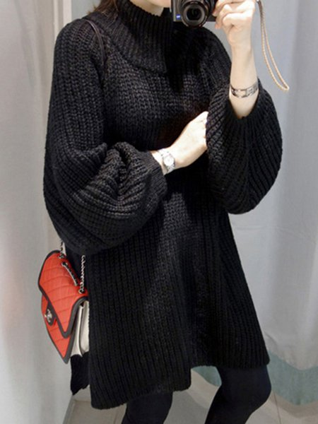 Long Sleeve Turtle Neck Slit Knitted Sweater