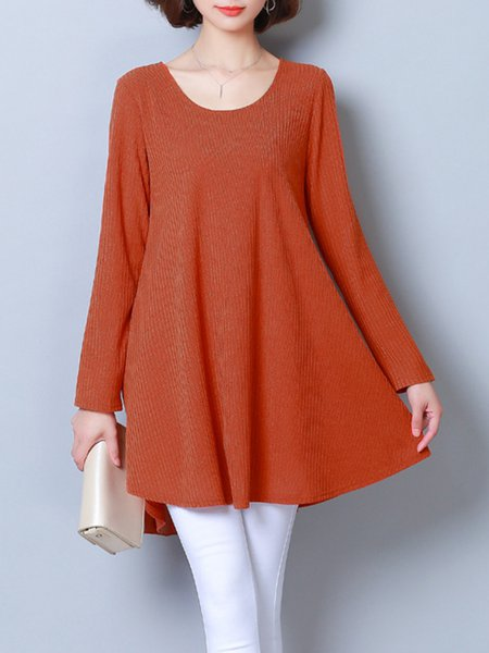 Orange High Low Knitted Long Sleeve Solid  Tunic
