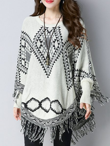 Knitted Batwing Fringed Casual Poncho