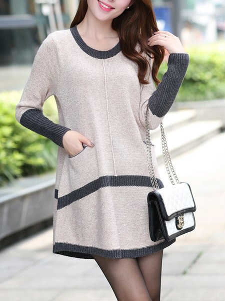 Beige Casual Pockets Crew Neck Sweater Dress