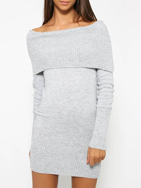 Sexy Off Shoulder Long Sleeve Knitted Dress