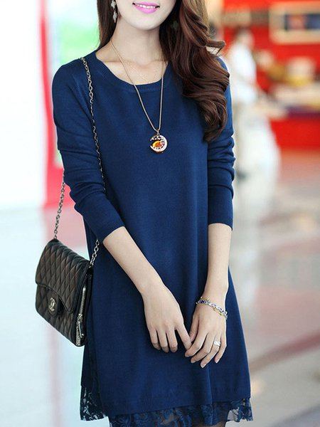 Dark Blue Solid Lace Crew Neck Long Sleeve Knitted Dress