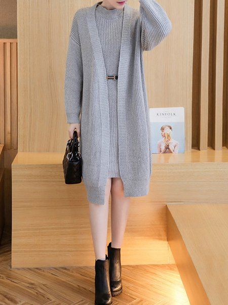 Long Sleeve Solid Knitted Two Piece Sets