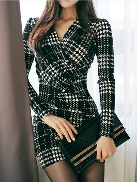 Wrap Bodycon Houndstooth Casual Dresses