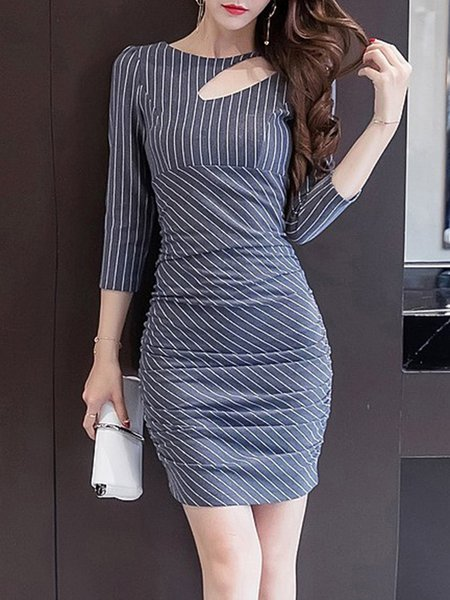Stripes Sexy Bodycon Backless Dress