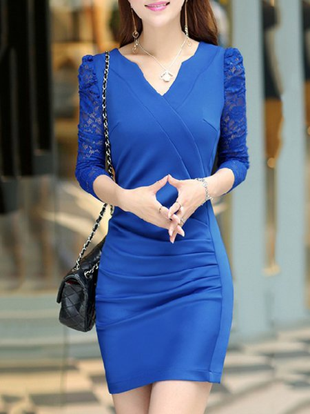 Folds Bodycon Lace Long Sleeve Dress