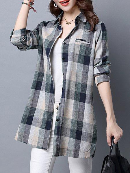 Gray Long Sleeve Cotton Shirt Collar Checkered/Plaid Blouses & Shirt