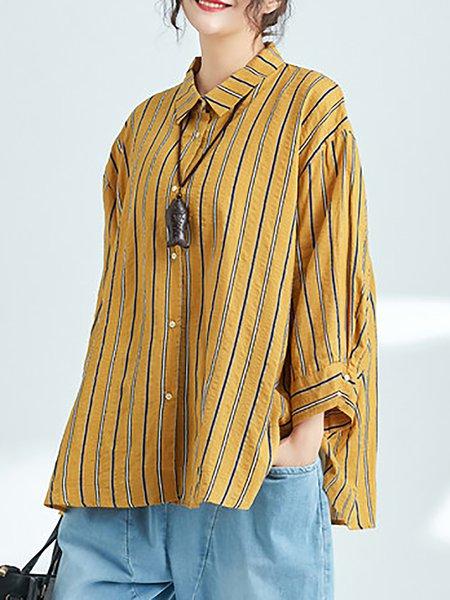 Long Sleeve Linen Strips Blouse