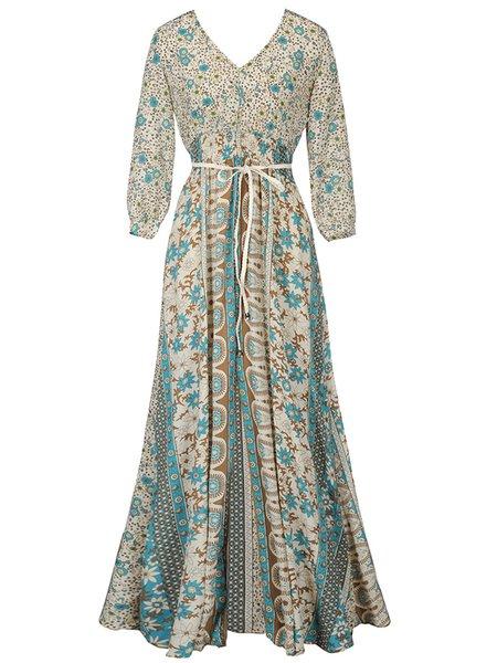 Apricot Casual Slit V-Neck Polyester Boho Dress