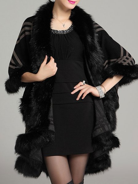 Fur Shearling Cape Sleeve Knitted Poncho