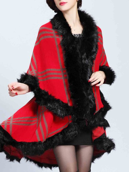 Knitted Asymmetrical Cape Sleeve Fur Shearling Poncho