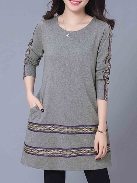 Gray Women Casual Dress Crew Neck Going out Cotton Embroidered Dress