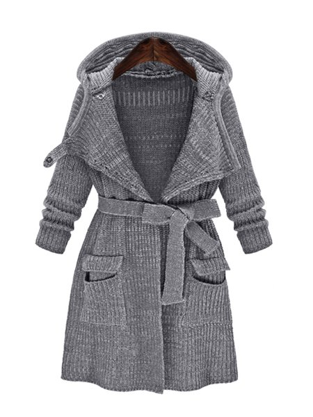 Long Sleeve Hoodie Knitted Cardigan with Belt