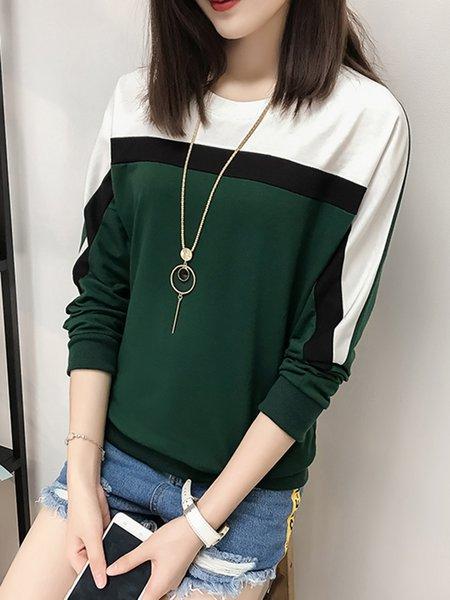 Long Sleeve Color-block  T-Shirt