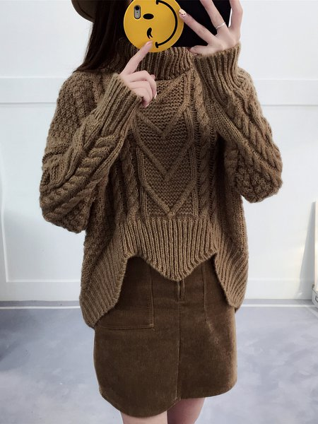 Long Sleeve Solid Casual Asymmetrical Turtle Neck Sweater